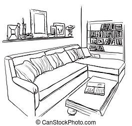 Room interior sketch. Hand drawn sofa and furniture. - Room ...