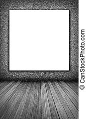 room interior vintage wall, wood floor and white blank placard background in black and white