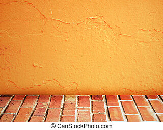 room interior vintage with brick wall and cement orange floor background