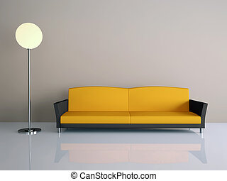 Room interior with a sofa and a lamp
