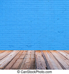 room interior with blue brick wall background