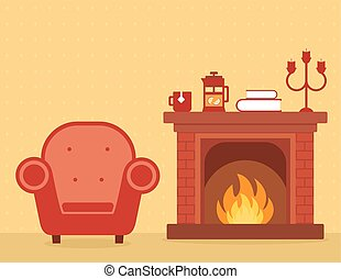 room interior with fireplace and armchair