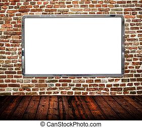 Room interior with huge blank billboard on brickwall