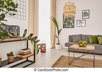 Room interior with plants and earthy colours