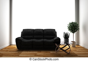 Room interior with sofa and plants on empty white wall background. 3D rendering