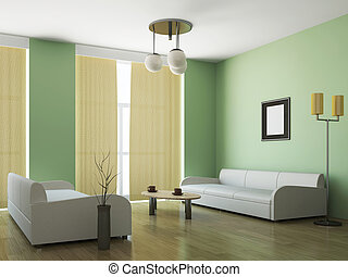 Room interior with two sofas and a table
