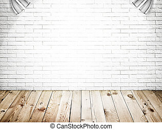 Room interior with white brick wall and wood floor ...