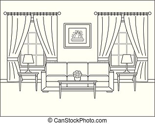 Room interior with window in flat design. Outline vector illustration.