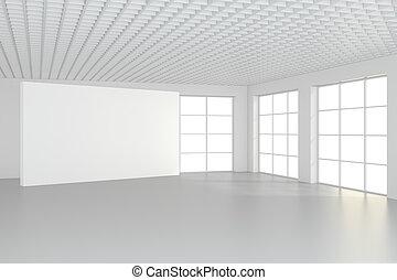 room., interpretazione, vuoto, tabellone, bianco, orizzontale, 3d