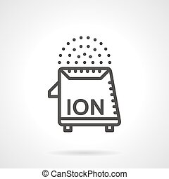 Room ionizer black line vector icon - Flat black line design...