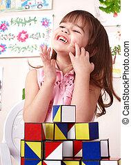 room., jouer, jeu, enfant, bloc