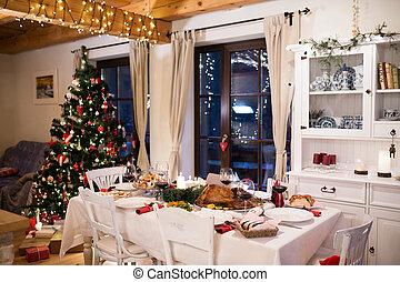 room., kerstmis, het dineren, gelegde lijst, verfraaide, maaltijd