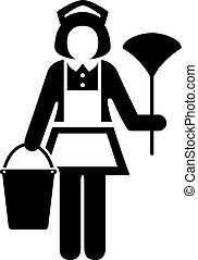 Room maid cleaner vector icon