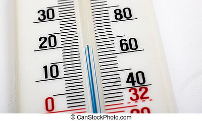 Room mercury thermometer on a white background closeup