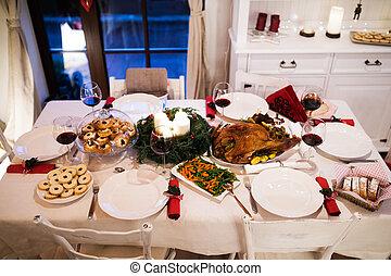 room., navidad, cenar, mesa de papel verjurado, adornado,...