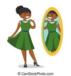 room., olhar, vestindo, mulher, espelho