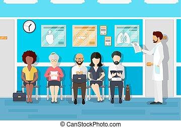room., pacientes, ilustración, esperar, vector, doctors