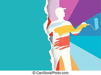 Room painter ripped paper background template. - Male...
