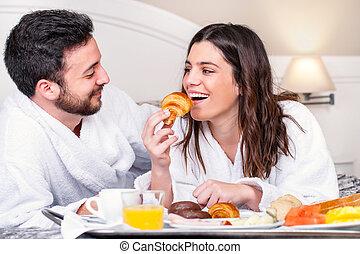 room., pareja, hotel, diversión, desayuno, teniendo