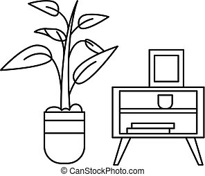 Room plant table icon, outline style