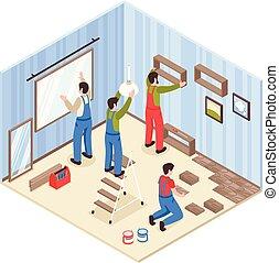 Room Repair Isometric Composition