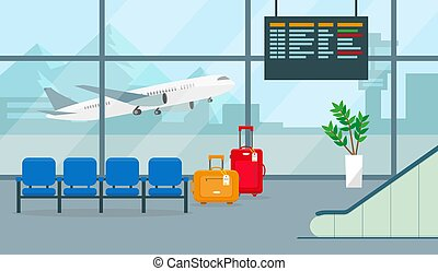 room., salle, ou, illustration., attente, aéroport, vecteur