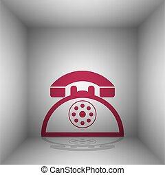 room., segno., telefono, retro, bordo, uggia, icona