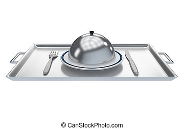 Room Service concept - 3D illustration of a white plate ...