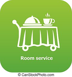Room service icon green vector isolated on white background