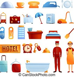 Room service icons set, cartoon style - Room service icons ...