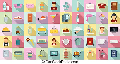 Room service icons set, flat style - Room service icons set...