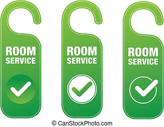 Room Service - Vector illustration of room service door ...