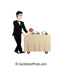 room service waiter, vector illustration
