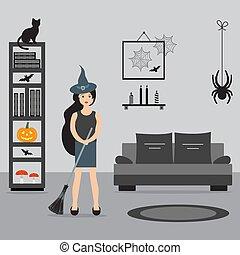 room., sorcière, 2019., halloween, manche balai