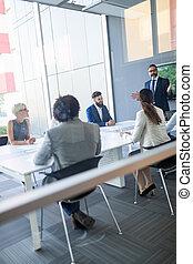 room., spotkanie, grupa, handlowy zaludniają