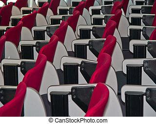 room., stoelen, lijnen, rood, vergadering