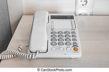 room., table, blanc, hôtel, téléphone