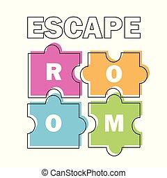 room., vecteur, bannière, puzzle, affiche, fond blanc, ...