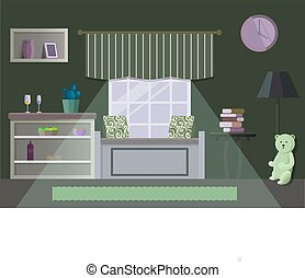 Room vector illustration in flat style.