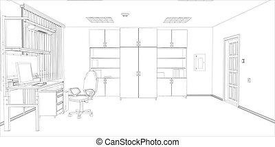 room., ventana, computadora, silla, tabla