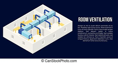 Room ventilation concept banner, isometric style