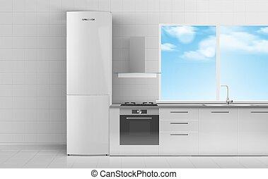 room., vetorial, refrigerador, ilustração