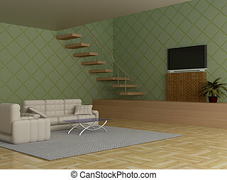 room., vivant, intérieur, image., 3d
