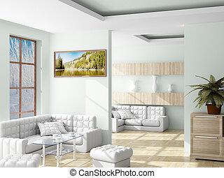 room., vivendo, interior, image., 3d
