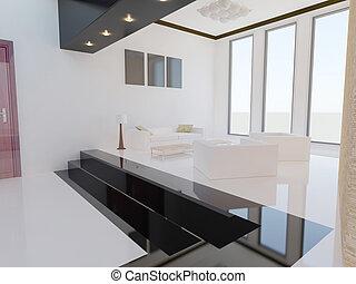 room., vivente, 3d, render., moderno
