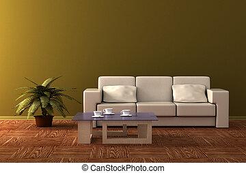 room., vivente, interno, image., 3d