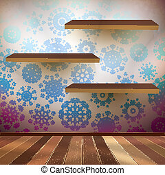Room wall with a shelfs snowflakes. EPS 10