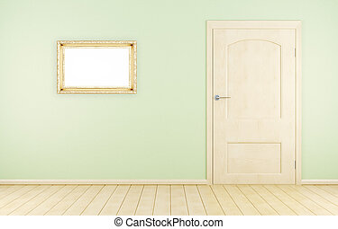 Room wall with door and frame. 3d rendering