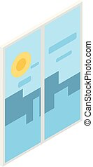 Room window icon, isometric style