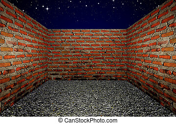Room with a brick wall